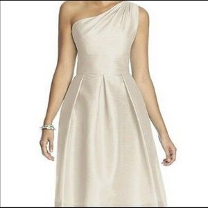 Alfred Sung One Shoulder Dress Champagne Size 4
